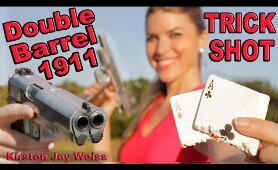 Double Barrel 1911 TRICK SHOT - Two Cards One Shot! - Crazy SLOW MOTION - First Ever