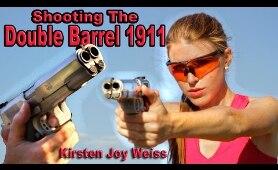 Girl Shooting Double Barrel 1911 - First Time| Resident Evil & James Bond Gun | Kirsten Joy Weiss