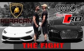LAMBORGHINI HURACAN SPYDER VS  AUDI R8 V10 PLUS | RACE CARS
